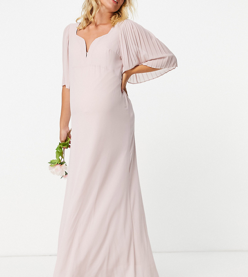 TFNC Maternity bridesmaid sweetheart neck flutter sleeve maxi dress in mink-Pink