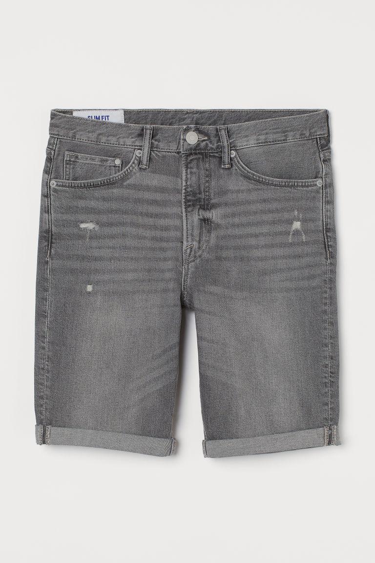 H & M - 貼身丹寧短褲 - 灰色