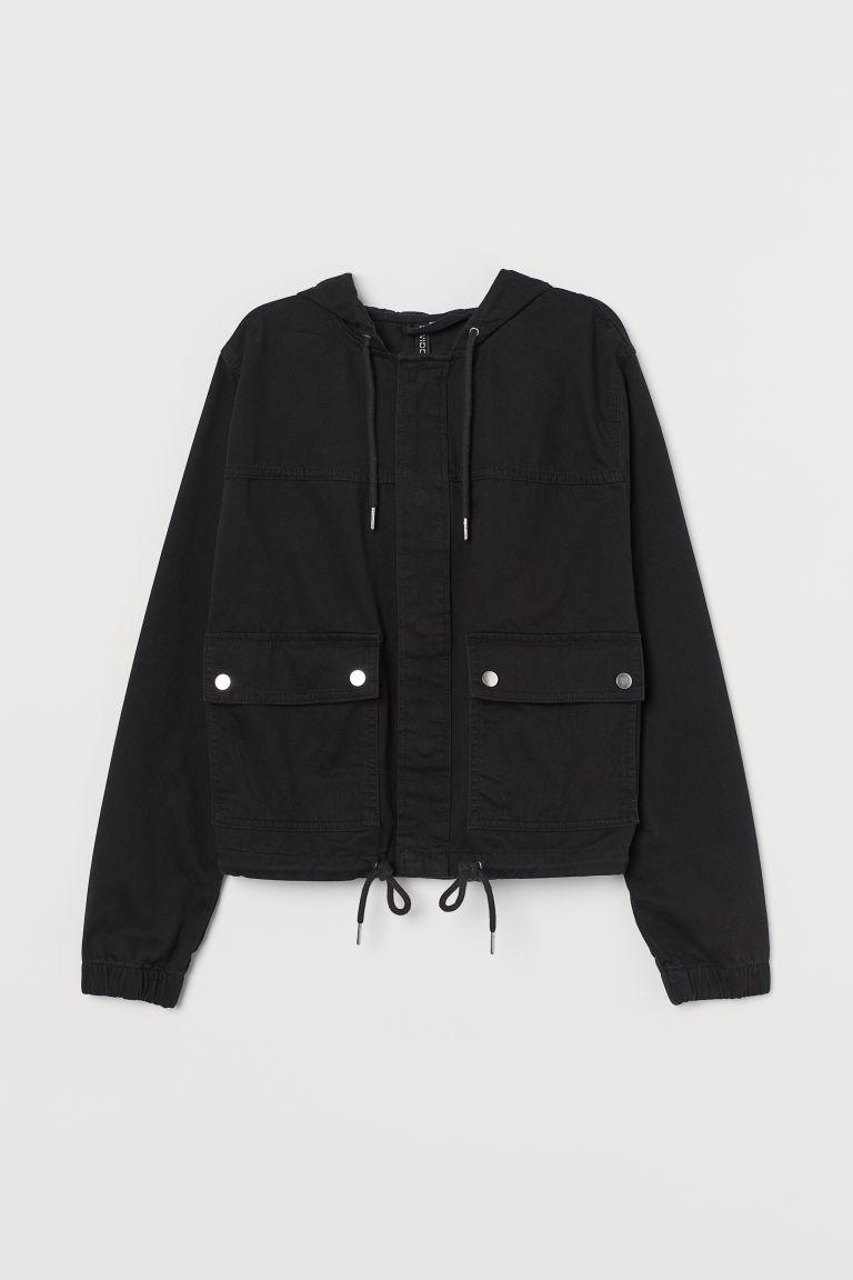 H & M - 短版連帽外套 - 黑色