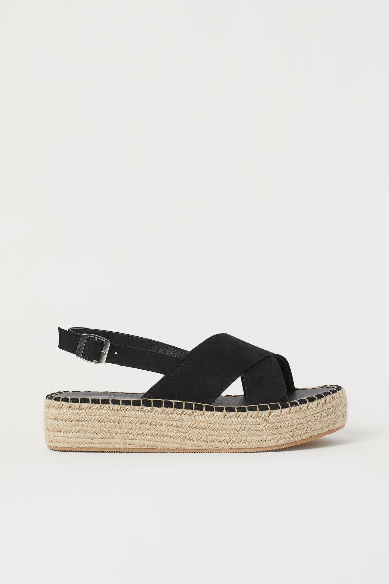 H & M - 厚底草編涼鞋 - 黑色