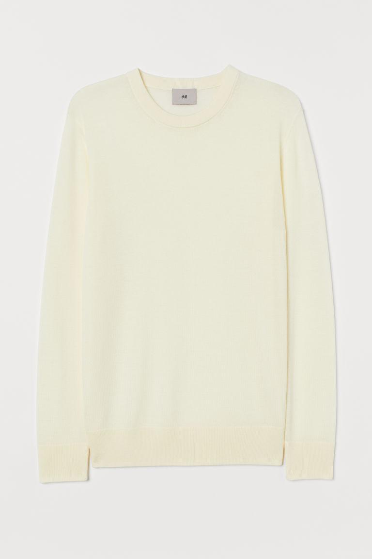 H & M - 美麗諾羊毛套衫 - 白色