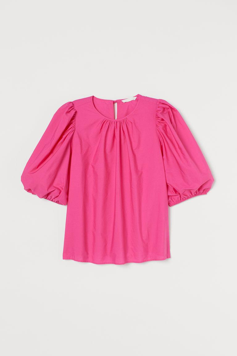 H & M - 公主袖棉質女衫 - 粉紅色