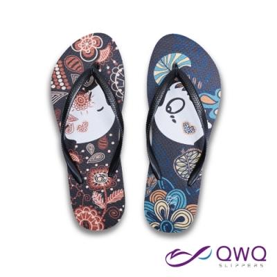 QWQ 女款防滑夾腳人字拖鞋-海灘玩水情侶款-天然橡膠-Melody-黑(ACBA00305)