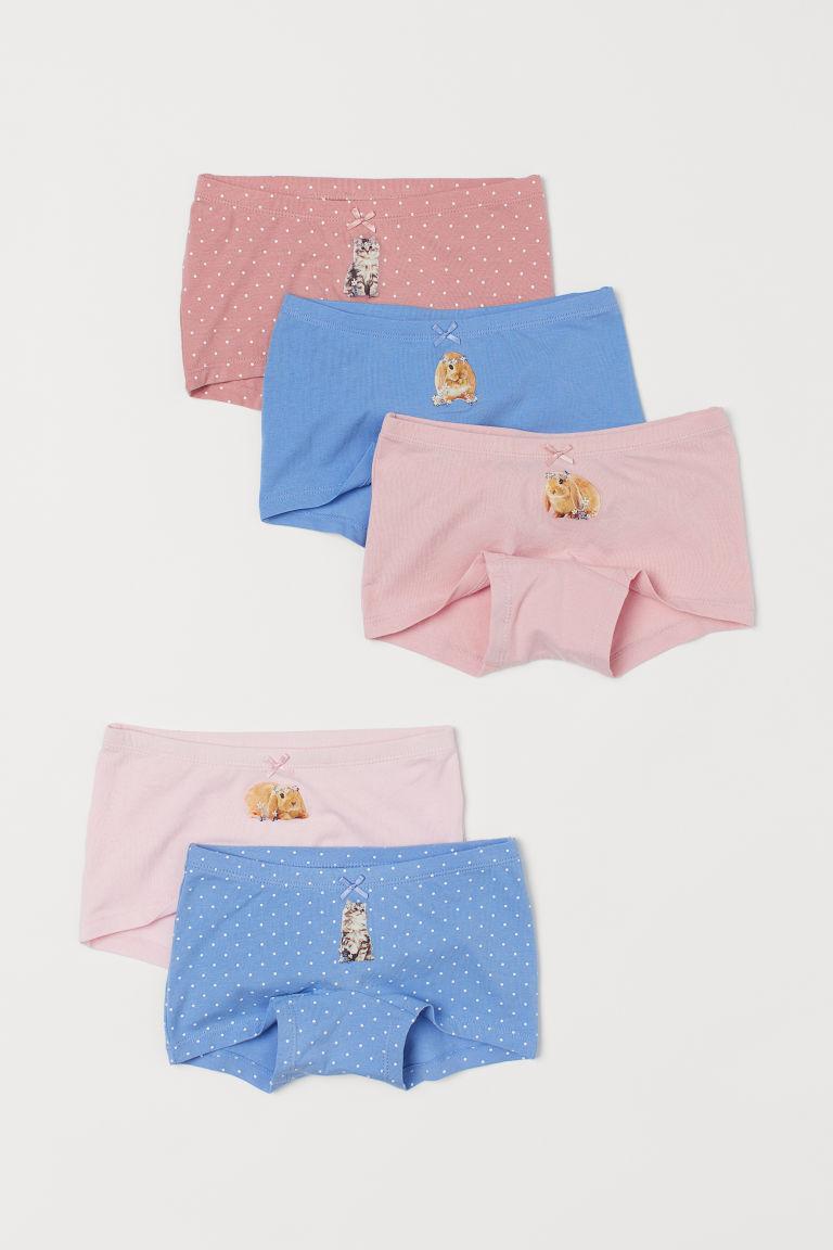 H & M - 5件入平口內褲 - 藍色