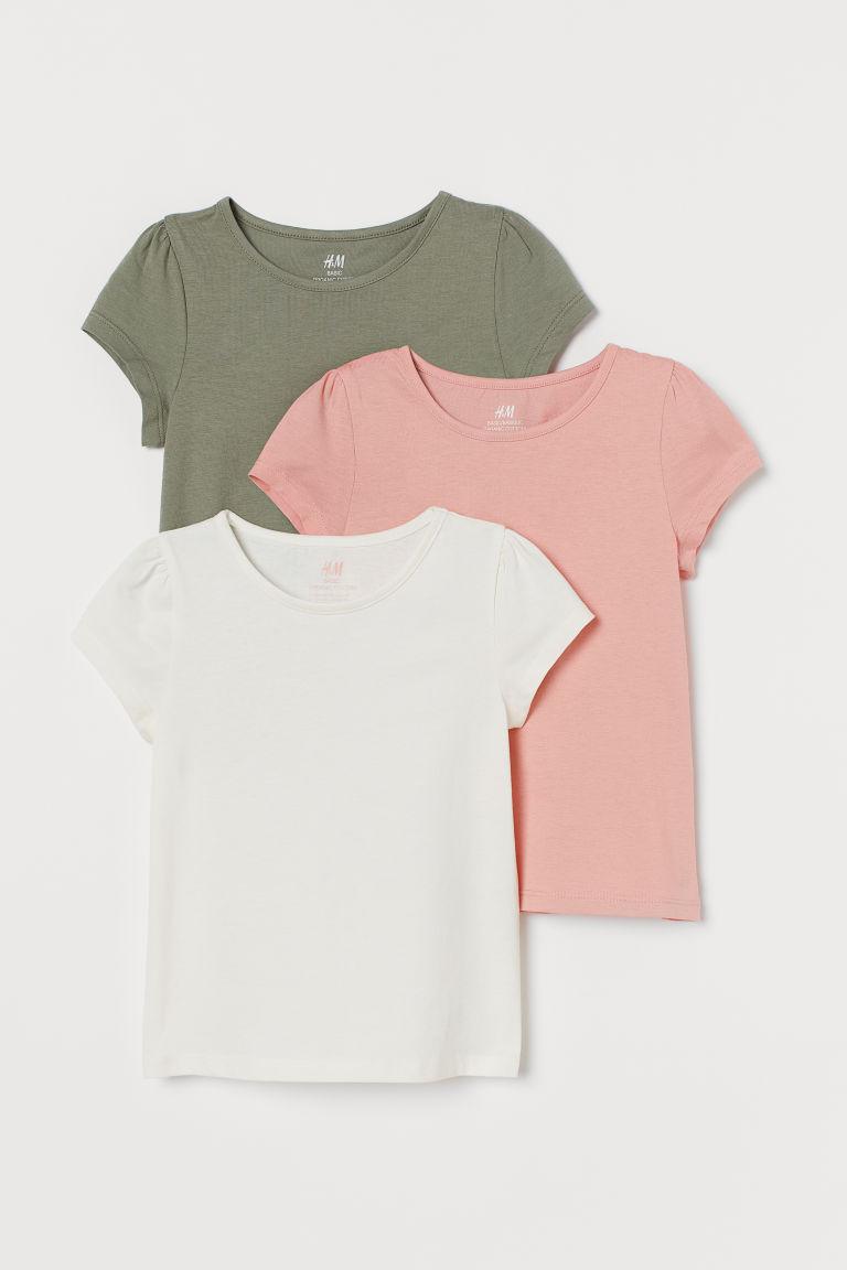 H & M - 3件入公主袖上衣 - 粉紅色