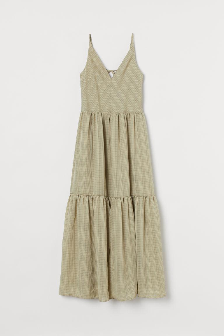 H & M - V領及地長洋裝 - 綠色