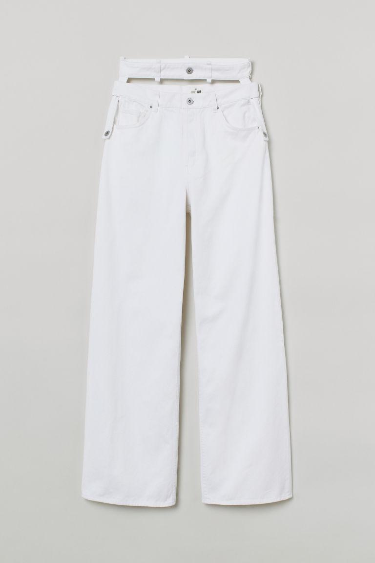 H & M - 寬鬆高腰牛仔褲 - 白色