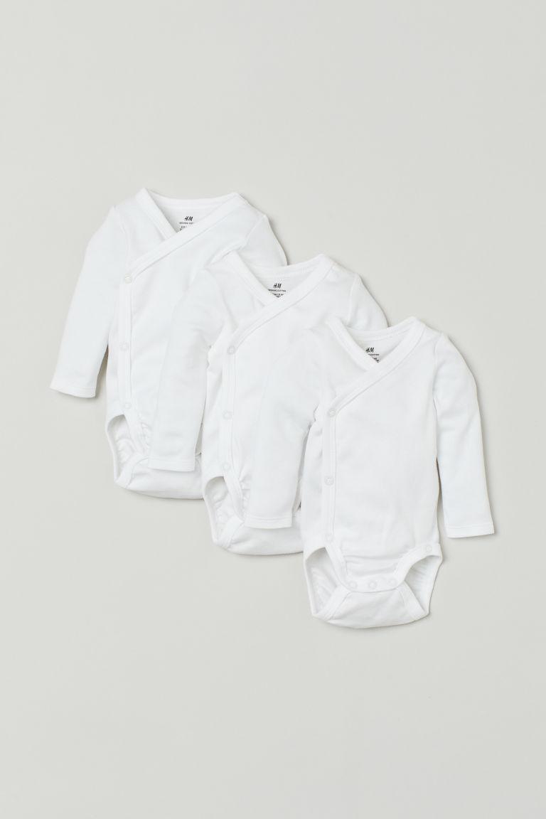 H & M - 3件入長袖連身衣 - 白色