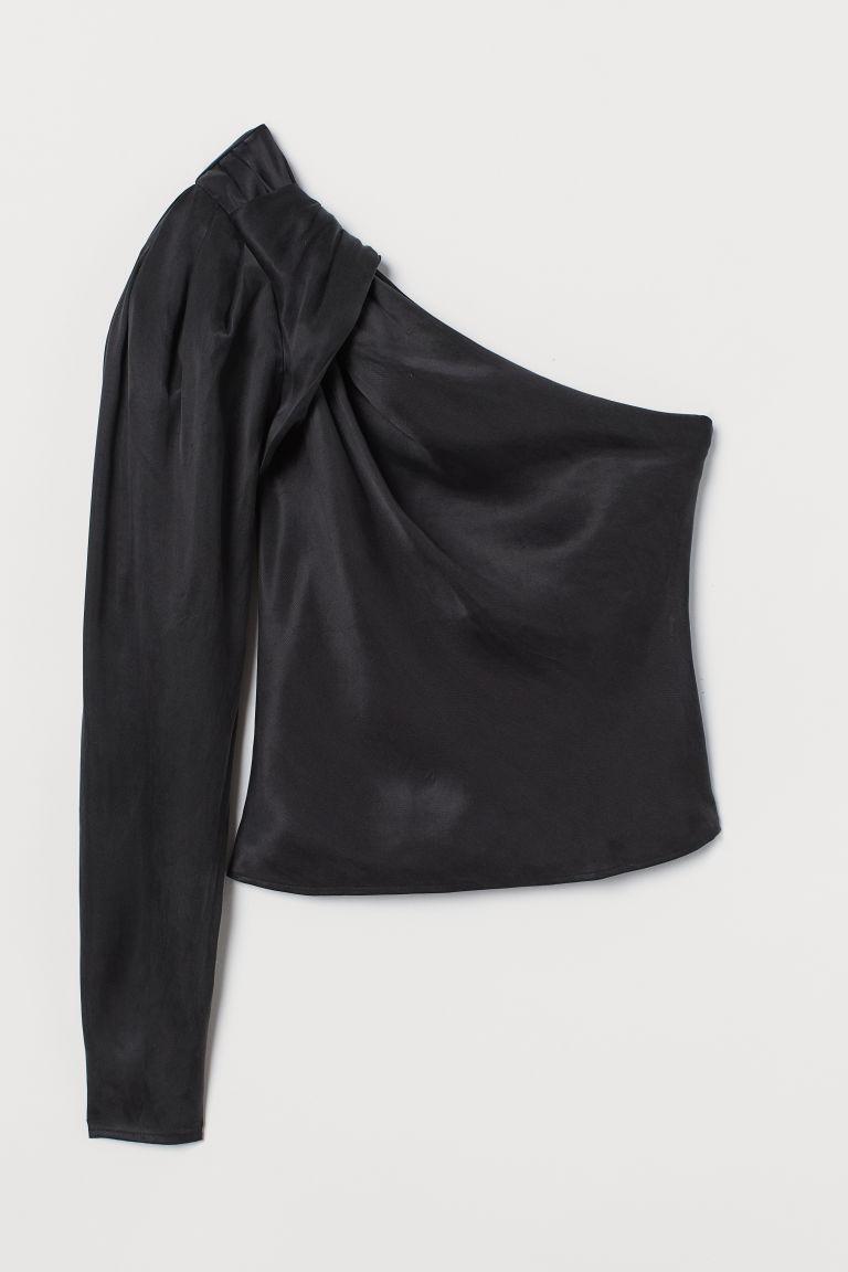 H & M - 斜肩上衣 - 黑色