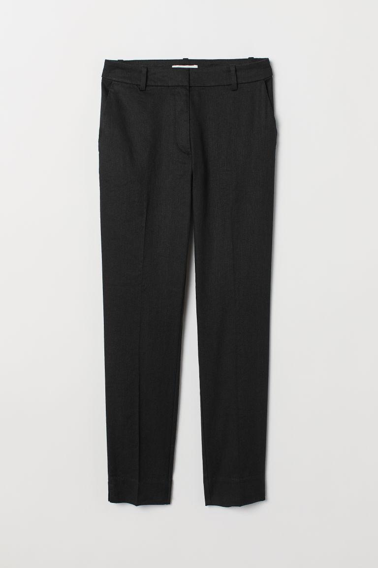 H & M - 亞麻混紡煙管褲 - 黑色