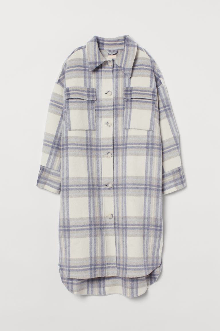 H & M - 羊毛混紡大衣 - 白色