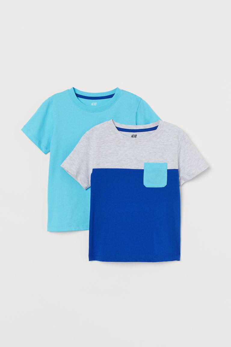H & M - 2件入T恤 - 藍色