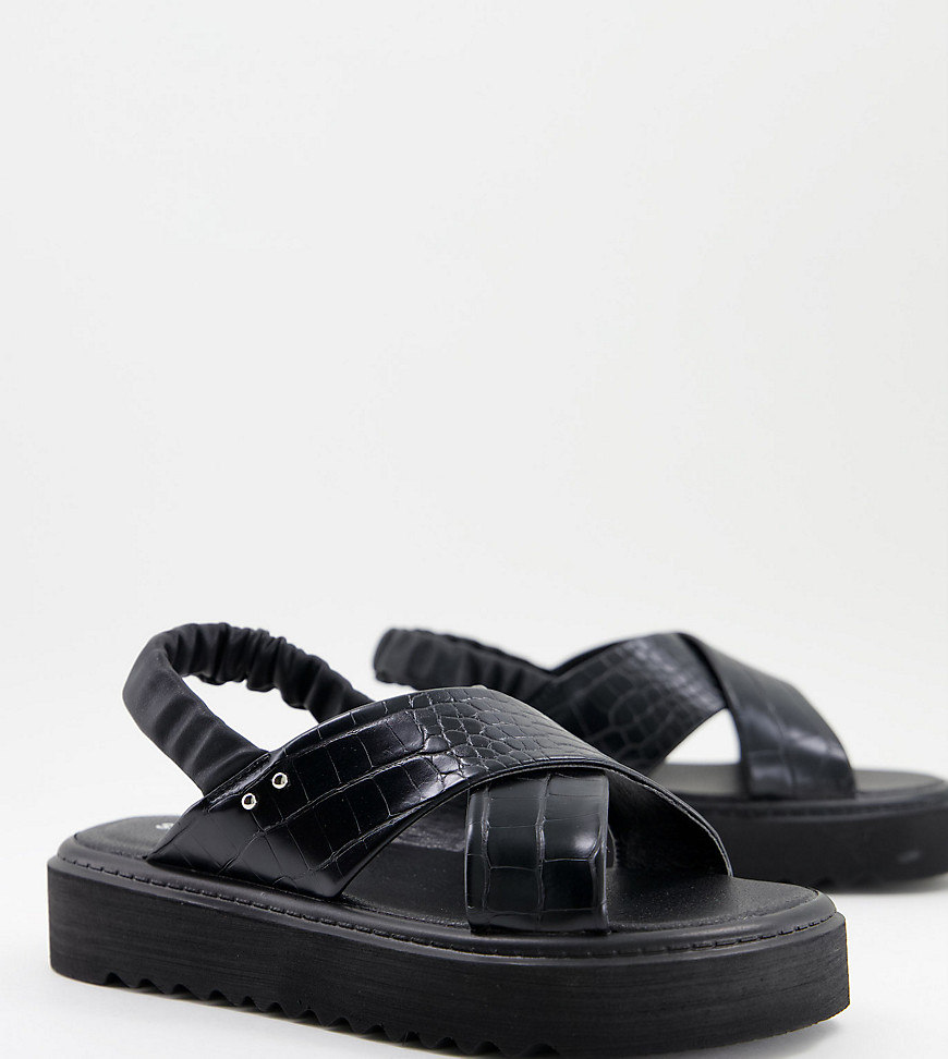 Simply Be wide fit chunky flatform sandal with cross strap detail in black