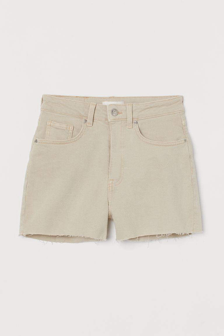 H & M - 高腰丹寧短褲 - 米黃色
