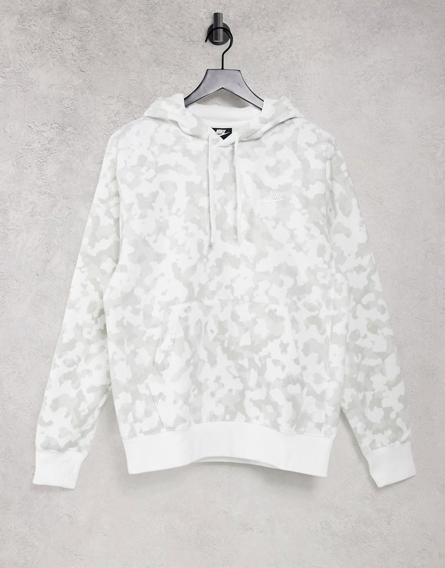 Nike Club hoodie in white camo print