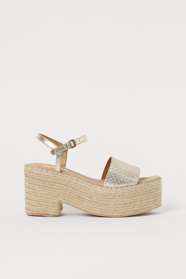 H & M - 真皮厚底涼鞋 - 褐色