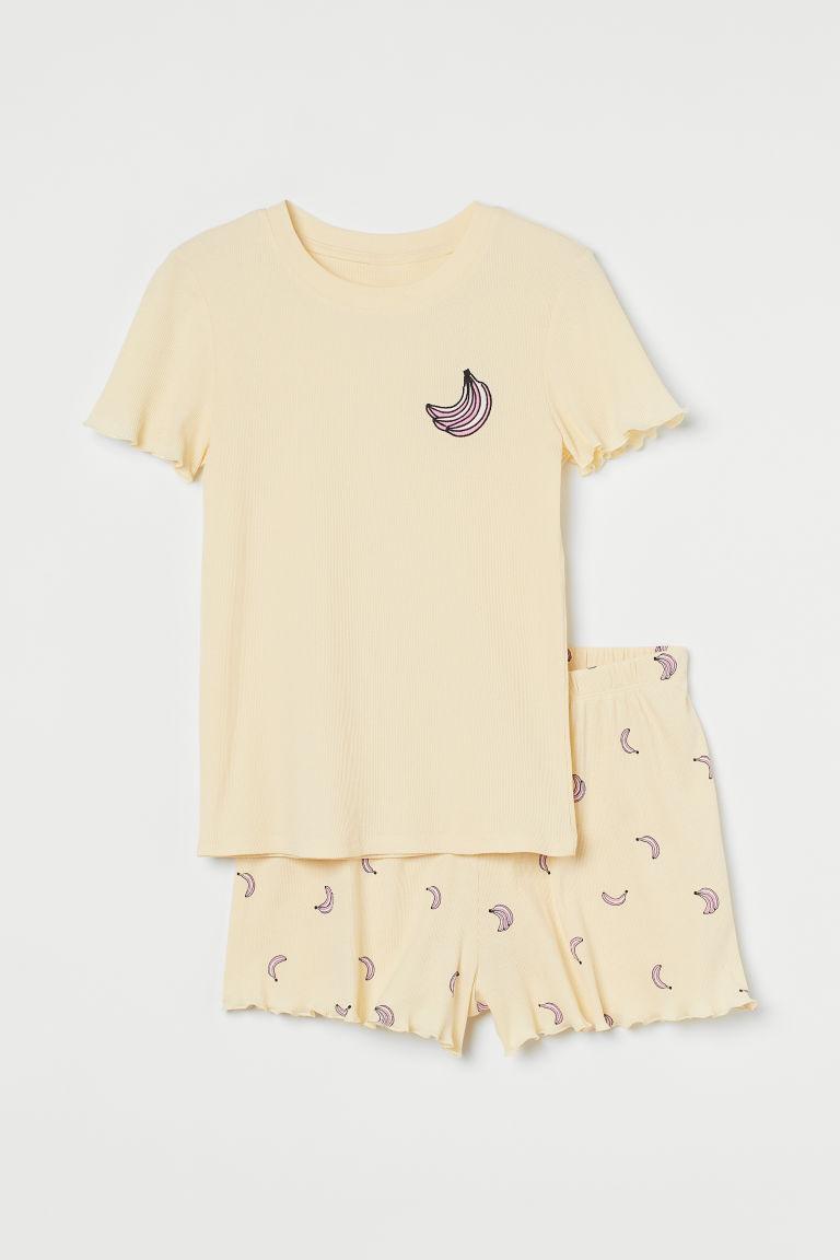 H & M - 配短褲睡衣套裝 - 黃色
