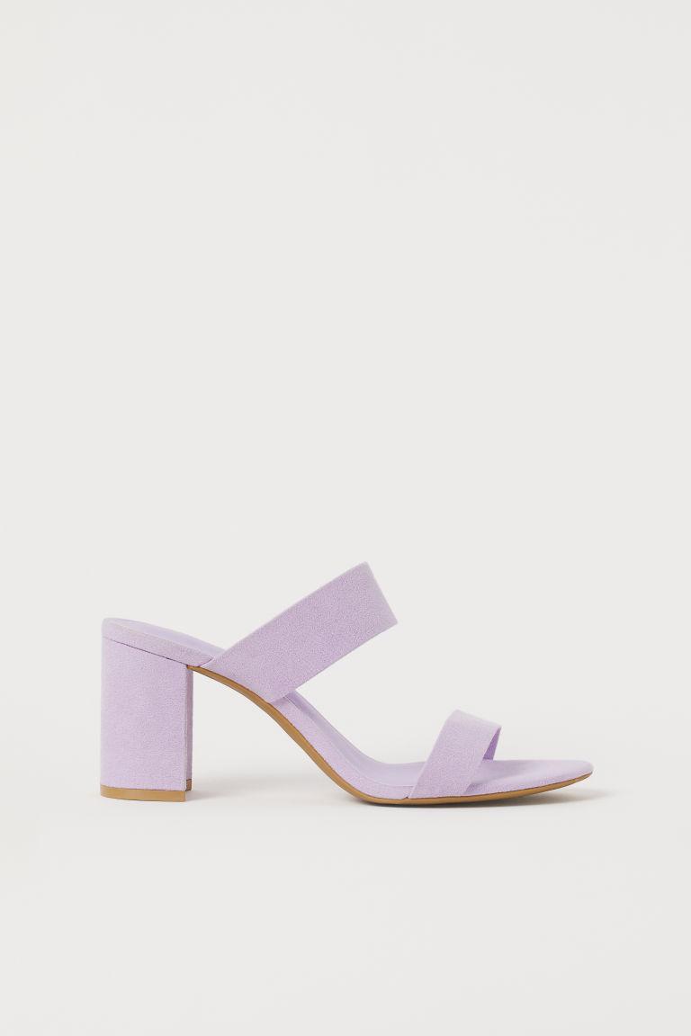 H & M - 粗方跟涼鞋 - 紫色