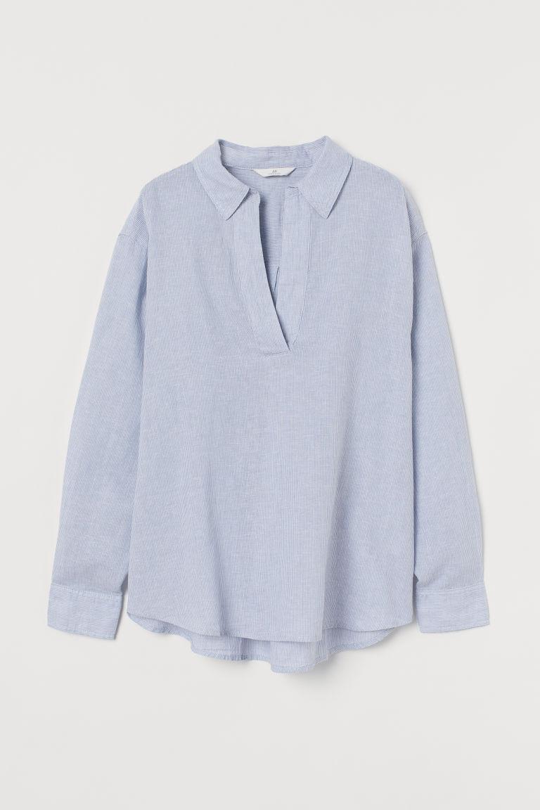 H & M - 亞麻混紡襯衫 - 藍色