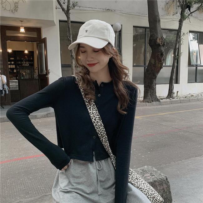 FOFU-韓版春季簡約百搭素面長袖t恤女色罩衫短版上衣【08SG05818】