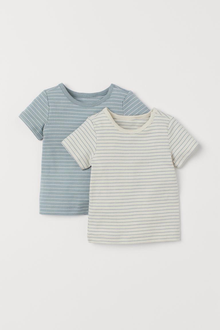 H & M - 2件入棉質T恤 - 藍綠色