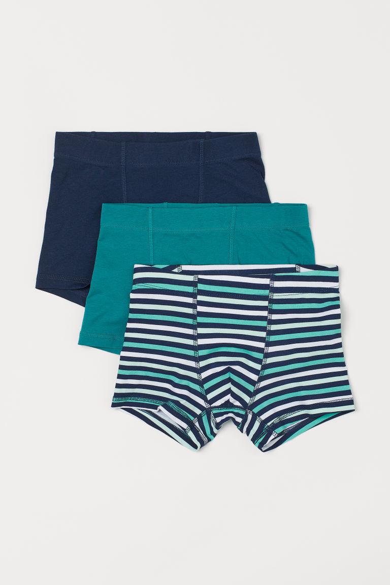 H & M - 3件入四角褲 - 藍綠色