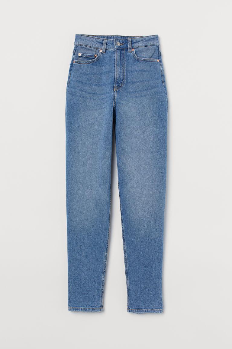 H & M - 老媽高腰九分牛仔褲 - 藍色