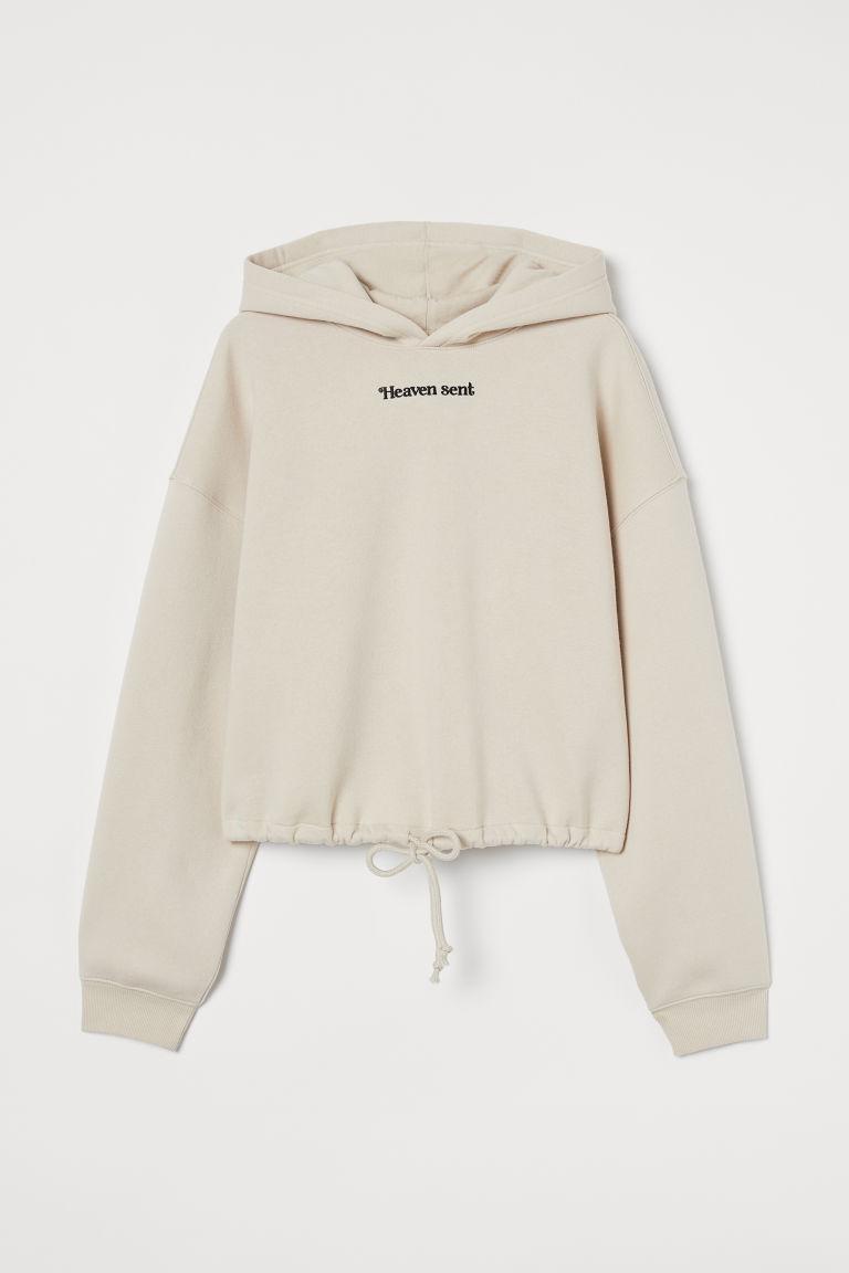 H & M - 抽繩連帽上衣 - 米黃色