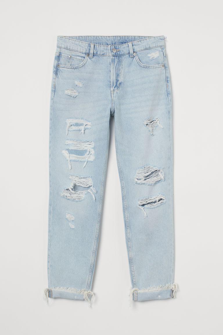 H & M - 男友低腰牛仔褲 - 藍色