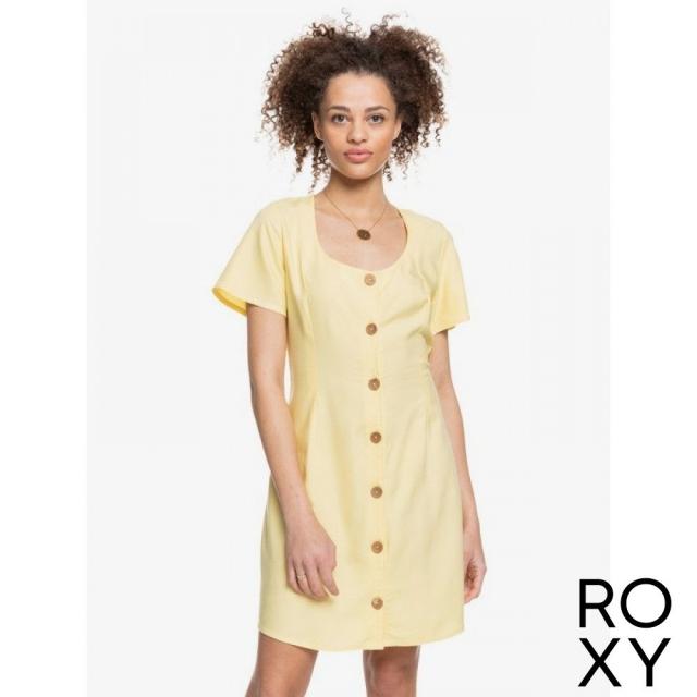【ROXY】ALL EYES ON LOVE 洋裝 淡黃色