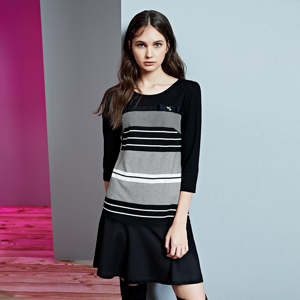 ILEY伊蕾 都會感條紋七分袖洋裝(黑)958736