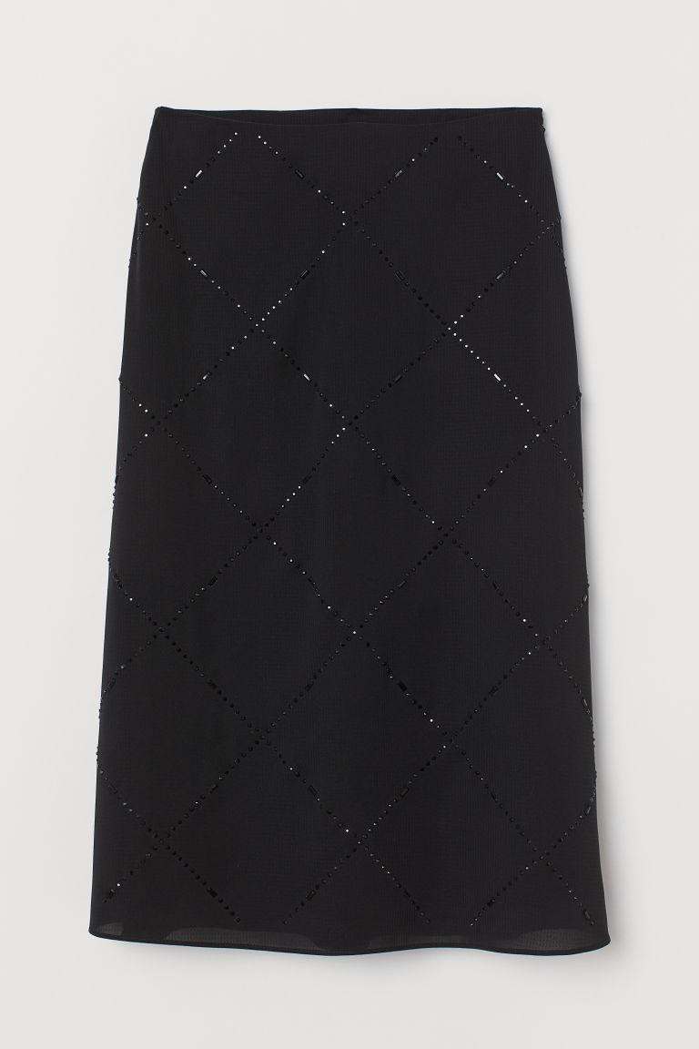 H & M - 水鑽中長裙 - 黑色