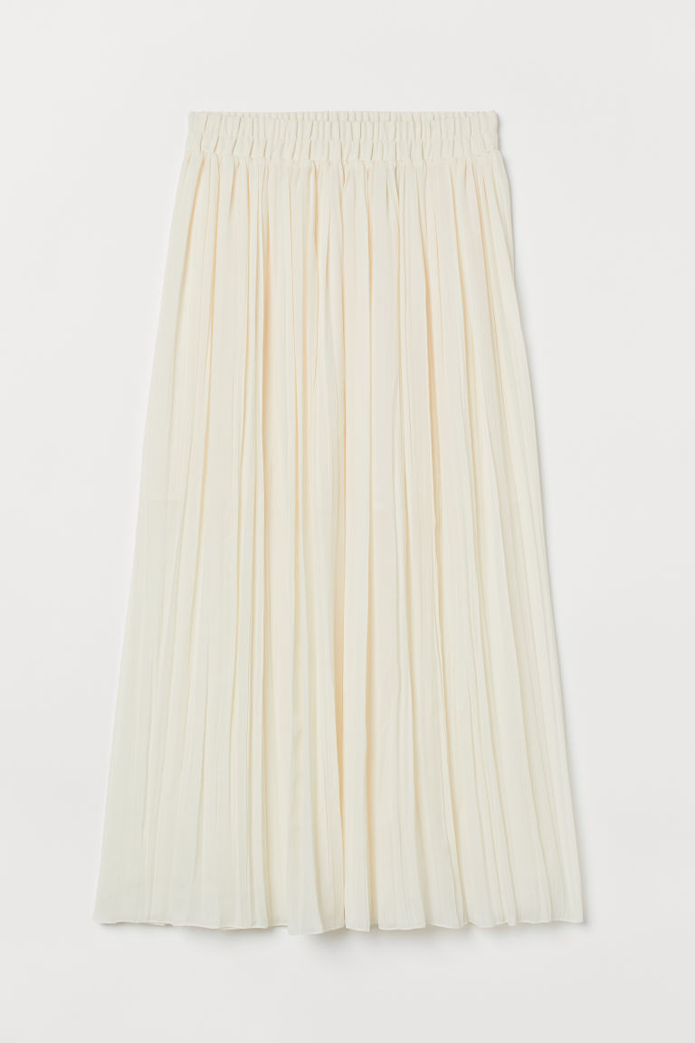 H & M - 百褶及地長裙 - 白色
