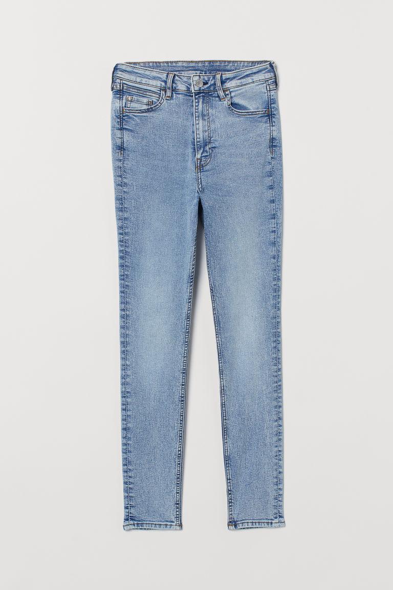 H & M - 超窄管高腰九分牛仔褲 - 藍色