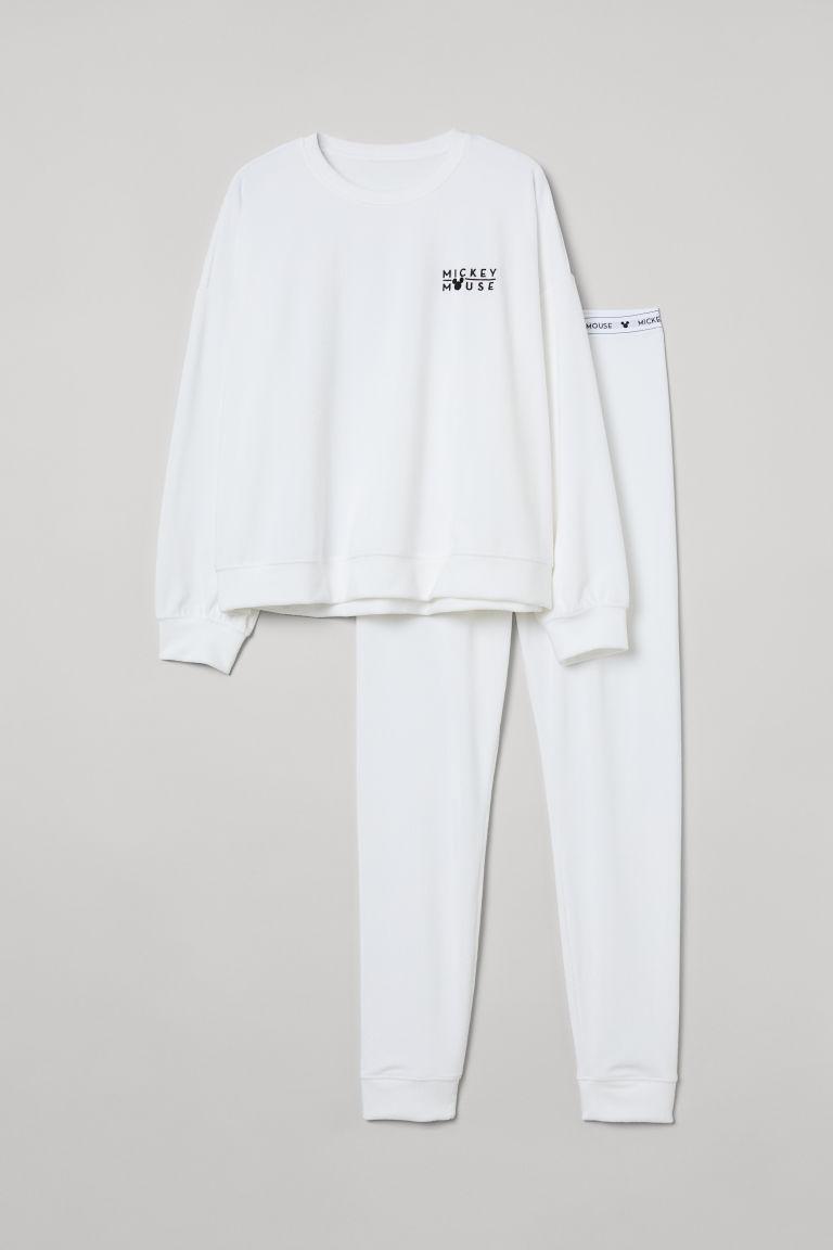 H & M - 刺繡絲絨睡衣套裝 - 白色
