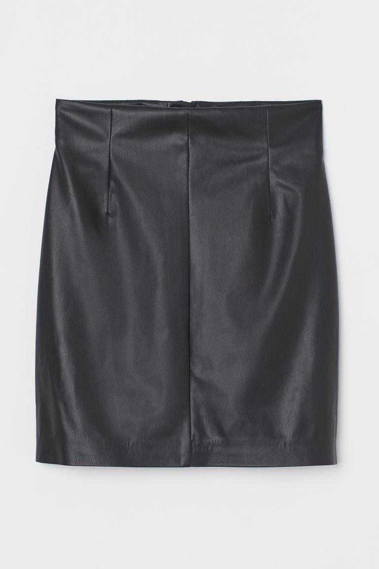 H & M - 仿皮裙 - 黑色
