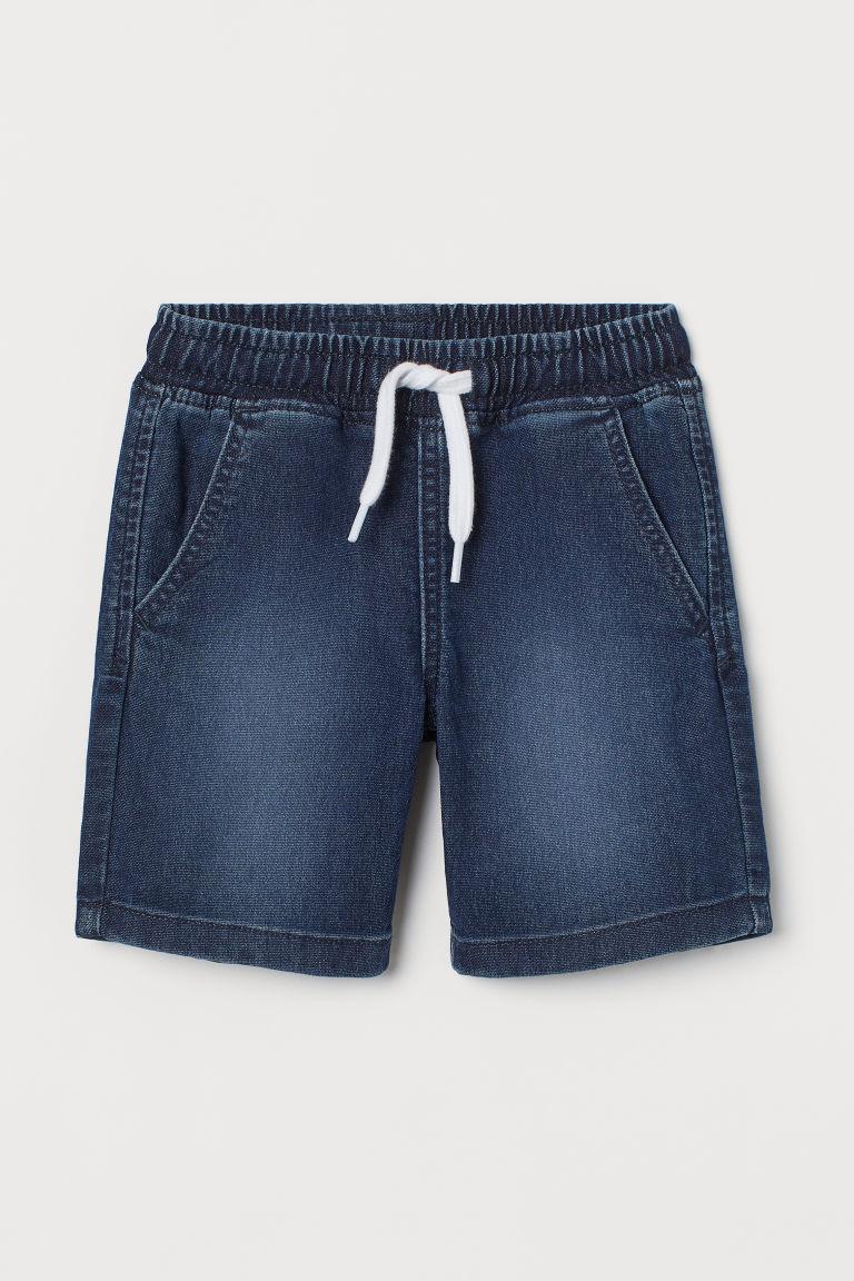 H & M - 丹寧鬆緊式短褲 - 藍色