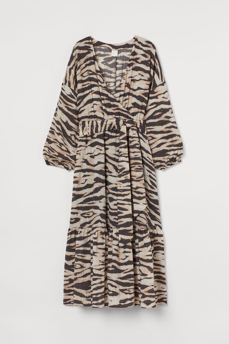 H & M - 交疊式長洋裝 - 米黃色