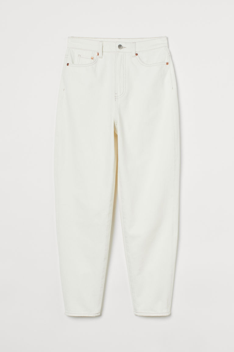 H & M - 媽媽寬鬆超高腰牛仔褲 - 白色