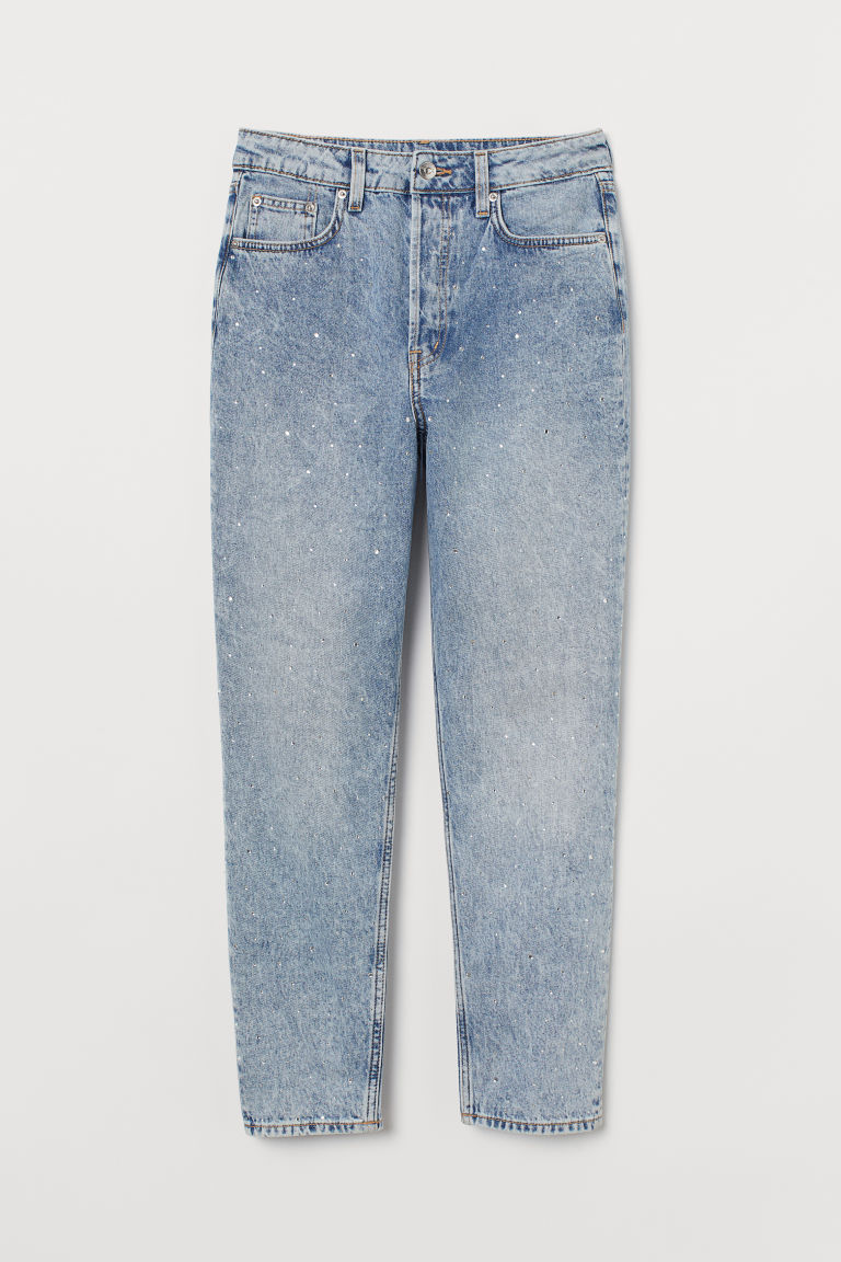 H & M - 老媽高腰九分牛仔褲 - 藍綠色