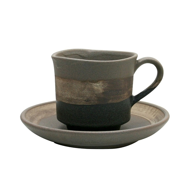 【日本製】墨色 陶製馬克杯盤組 褐色 SD-6304 -