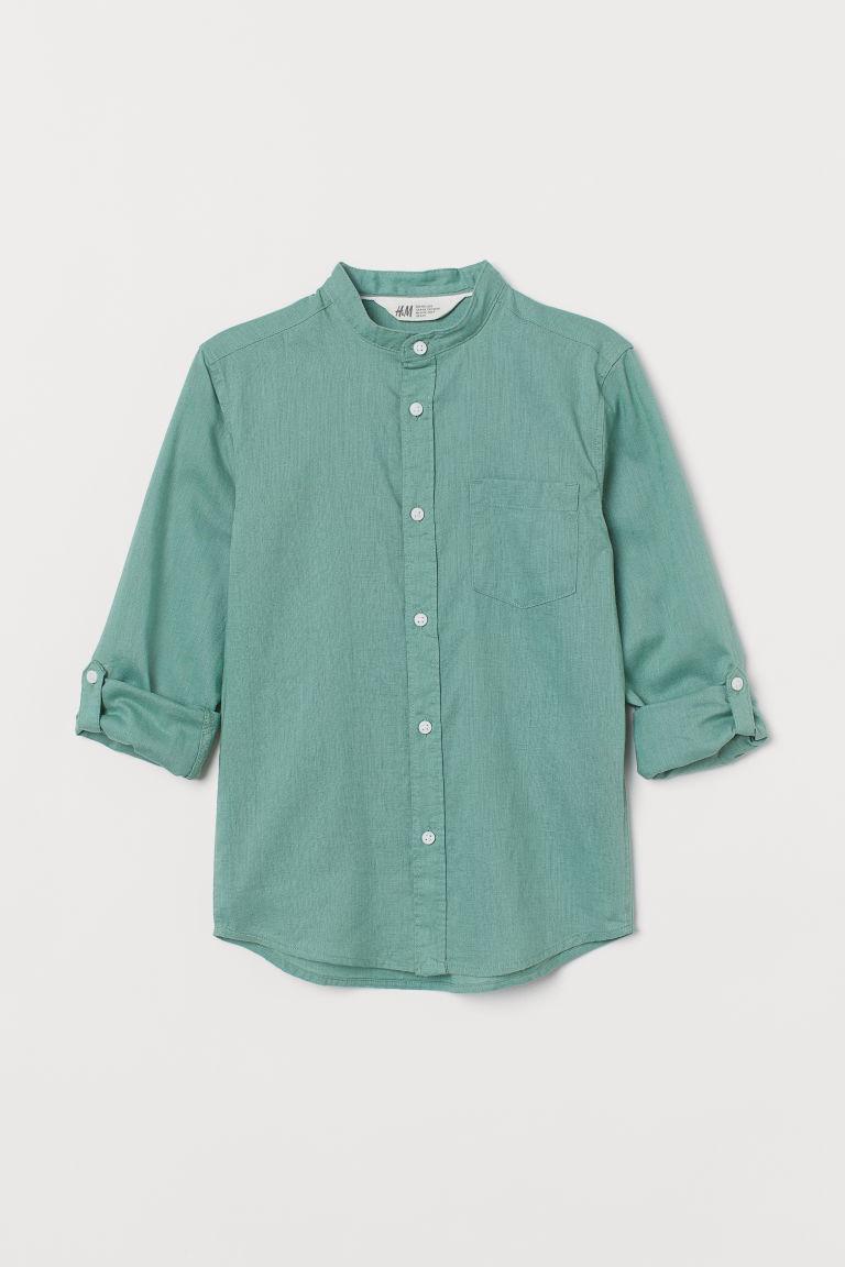 H & M - 祖父領襯衫 - 綠色