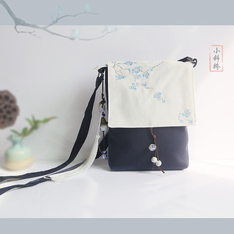 棉麻刺繡日系艺文休閒學院女士拼色布藝單肩斜跨書包
