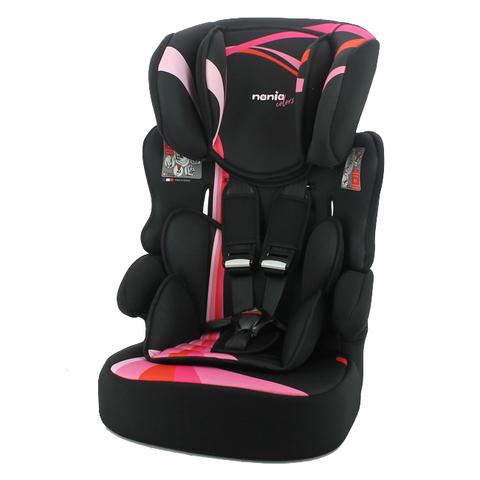 法國 NANIA 納尼亞 彩繪系列2-12成長型安全汽車座椅-彩虹粉