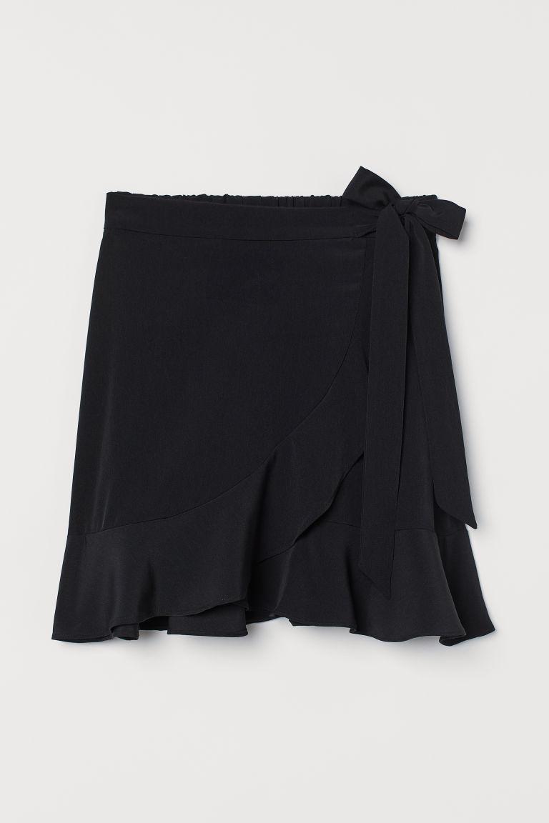 H & M - 荷葉邊交疊式短裙 - 黑色