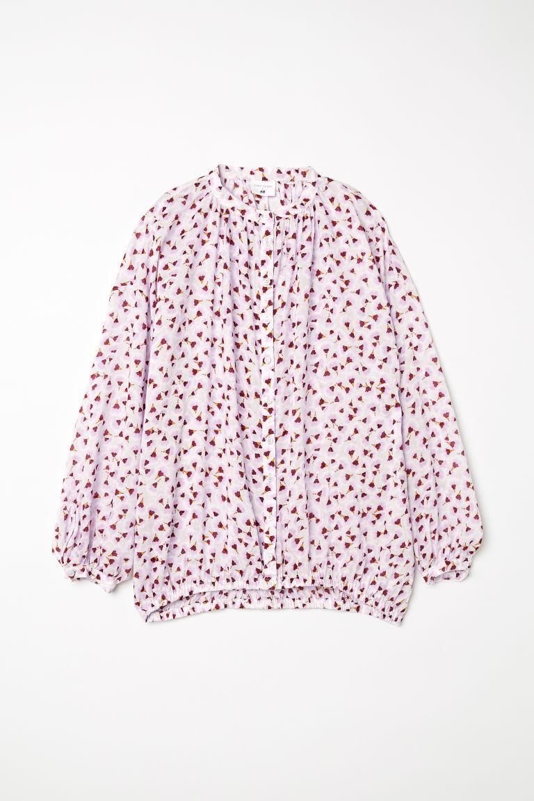 H & M - 印花萊賽爾女衫 - 褐色