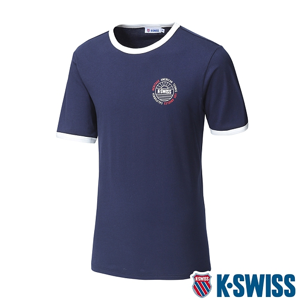 【超取】K-SWISS Crew Neck Binding Tee棉質吸排T恤-男-藍