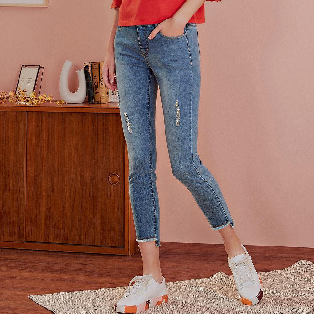 OUWEY歐薇 休閒刷破彈性修身牛仔褲(藍)J57628