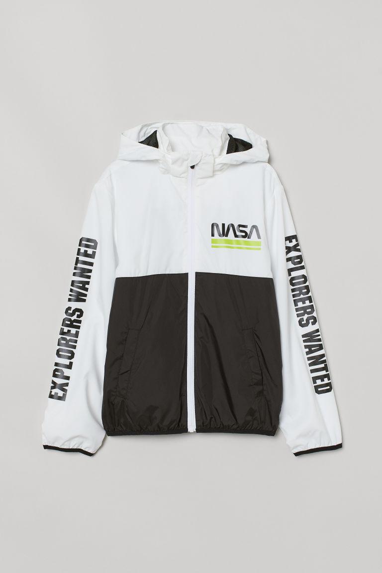 H & M - 圖案擋風外套 - 白色