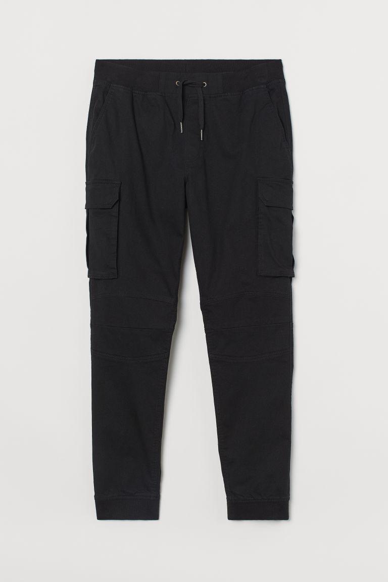 H & M - 棉質工作慢跑褲 - 黑色